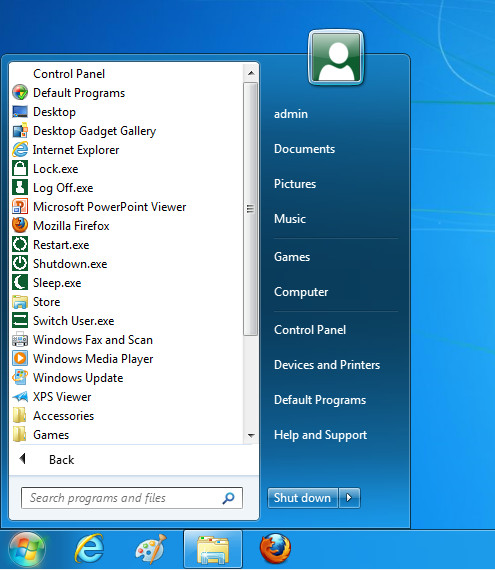 Windows 7 start menu in Windows 8