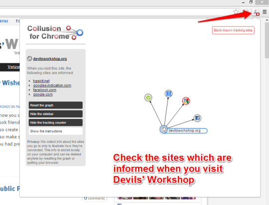 Realtime Visualization of Invisible Sites Tracking Users