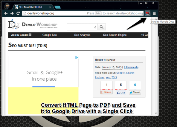 HTML to PDF Save Google Drive