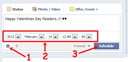 Schedule a post on Facebook