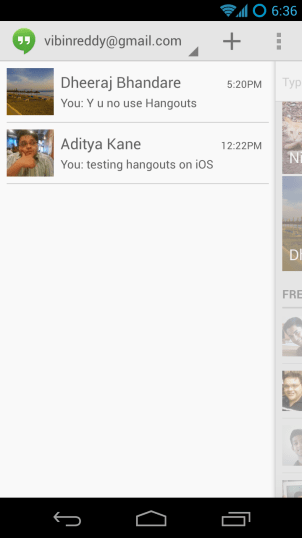 Hangouts on Android