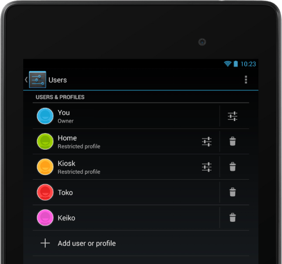 """Android 4.3 - has new feature called """"Restricted Profiles"""" for parental control"""