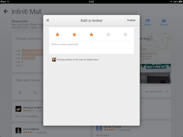 Review places easily - iPad Google Maps