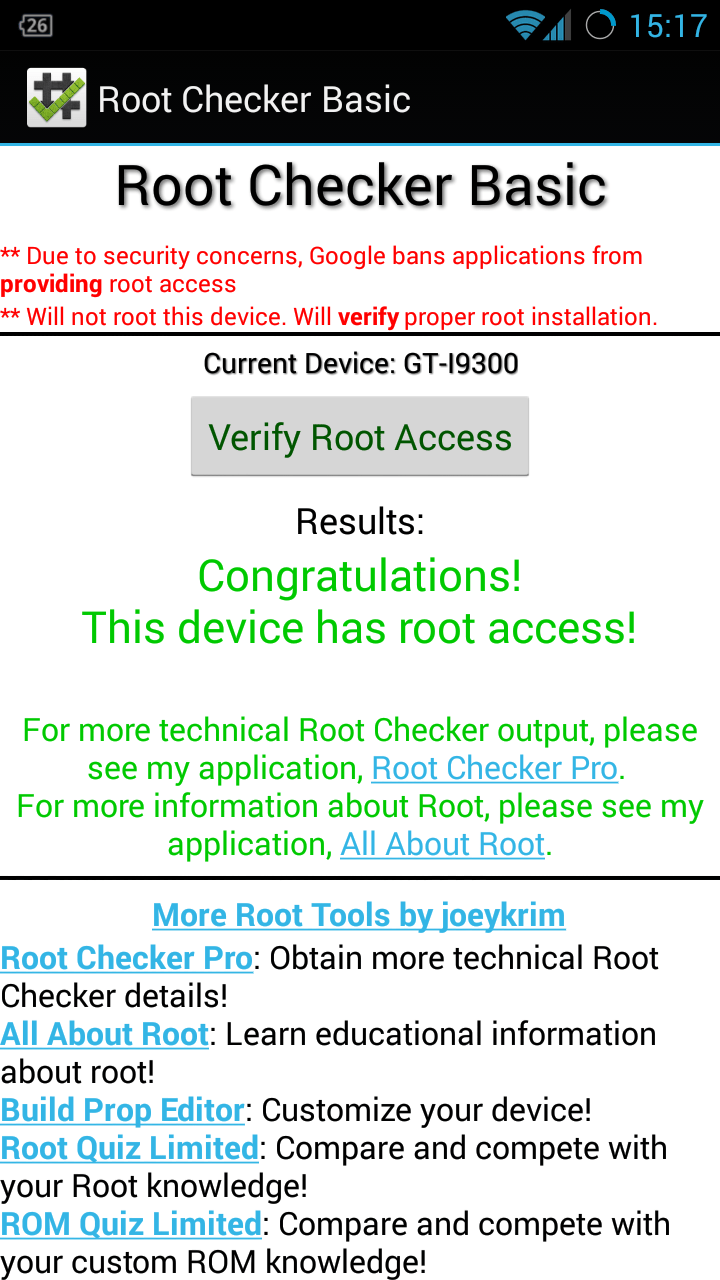 Root Checker : Check whether you have rooted your Android or not