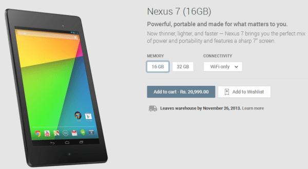Nexus 7 2013 India