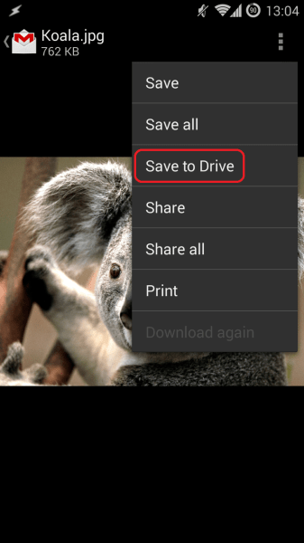 'Save to Drive' button automatically sends attachments to your Drive