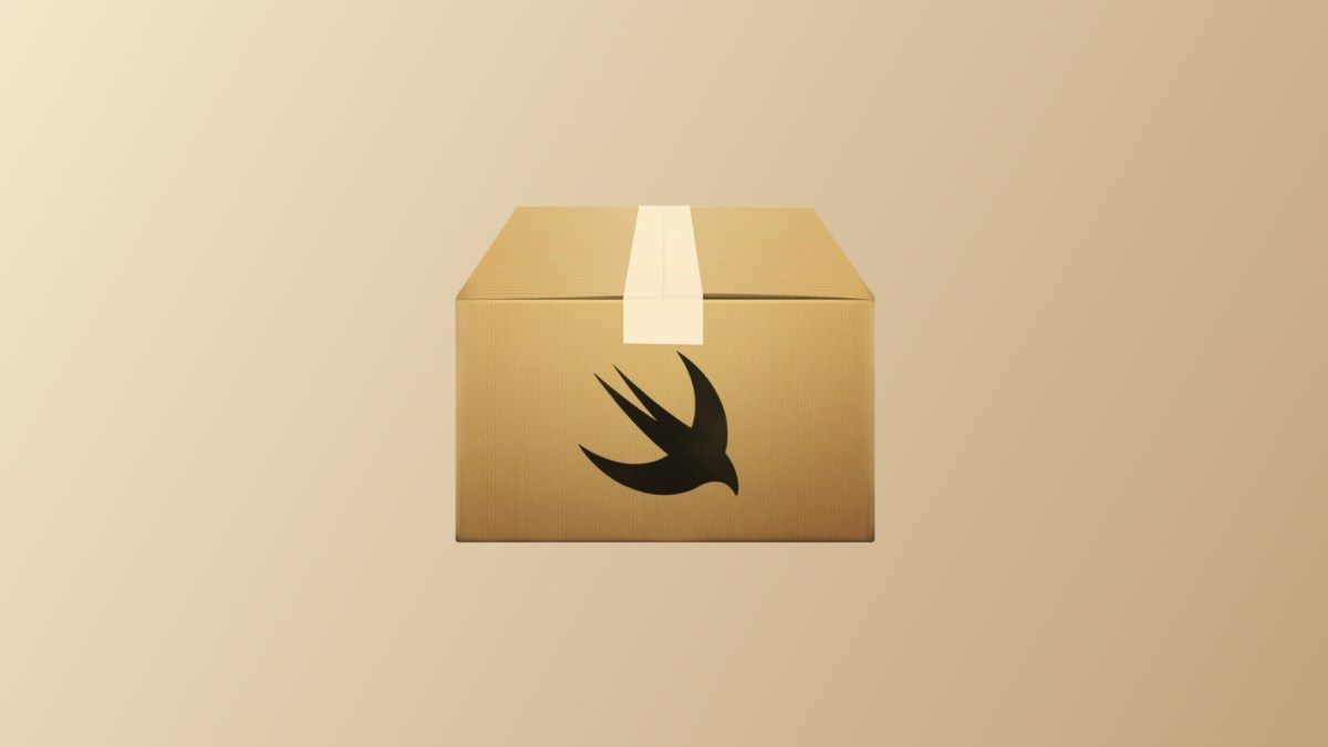 Swift packages icon of brown box with swift icon on it