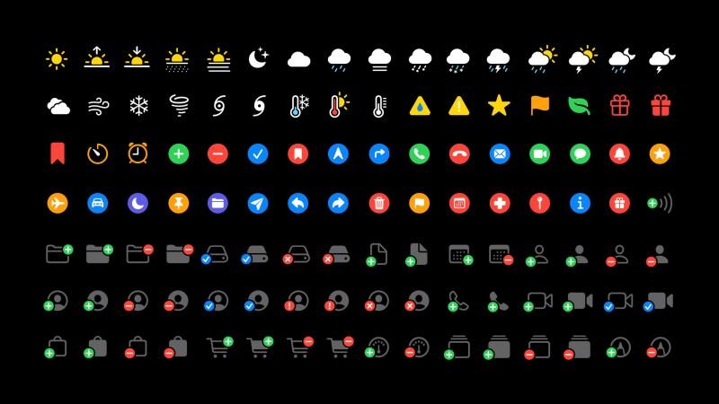 Symbols come in a variety of colors, outlines and filled variants.