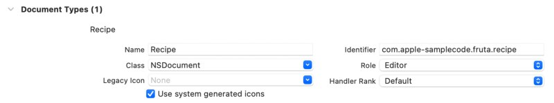 Document type configuration panel