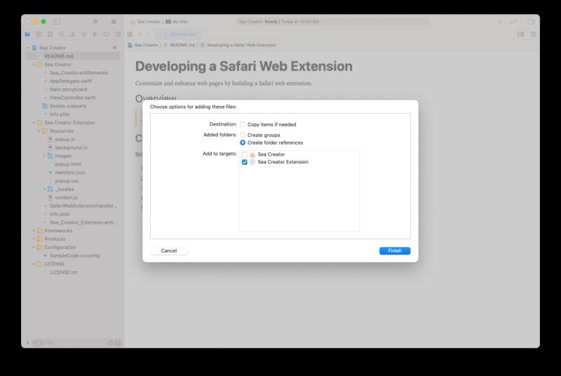 Add files screen in Xcode