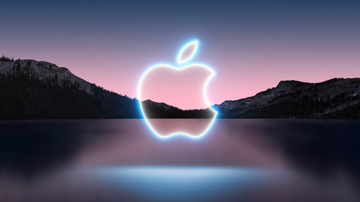 Mountains over lake with apple logo