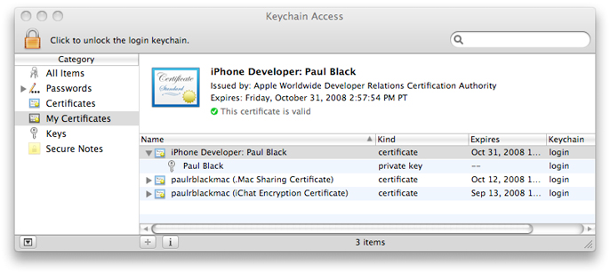Keychain Access utility showing a private key