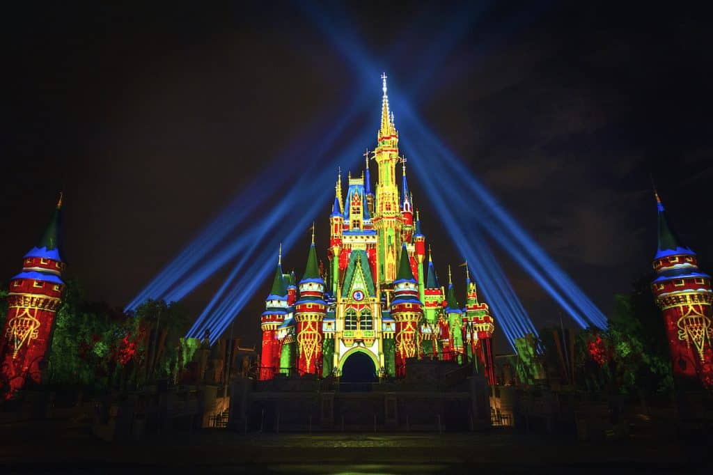 Holiday projections Cinderella Castle Magic Kingdom