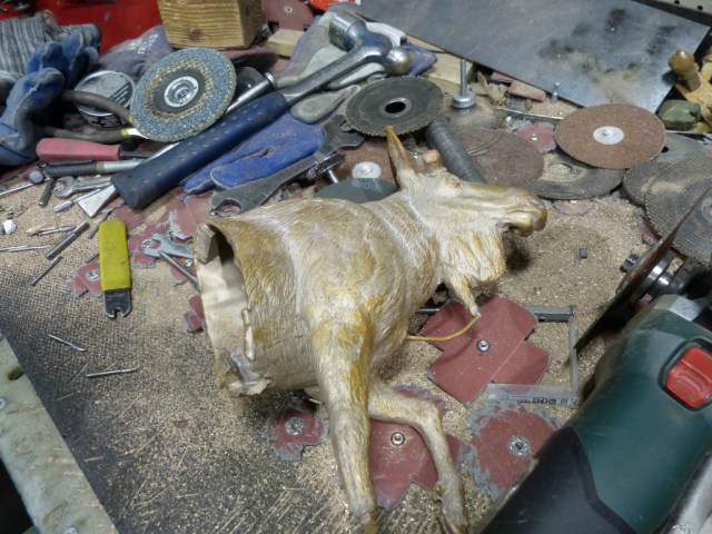 One half of the moose, after the ceramic is broken away and before all the parts are welded back together.