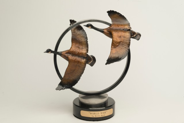 The bronze 'Moonlight Symphony' depicts canadian geese in flight.