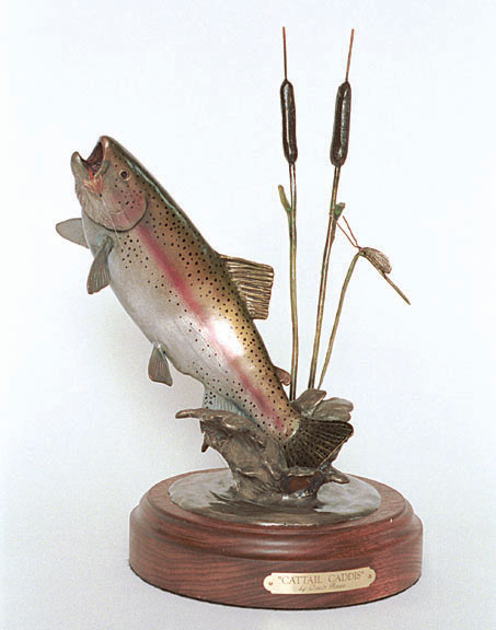The bronze 'Cattail Caddis' depicts a rainbow trout near cattails.