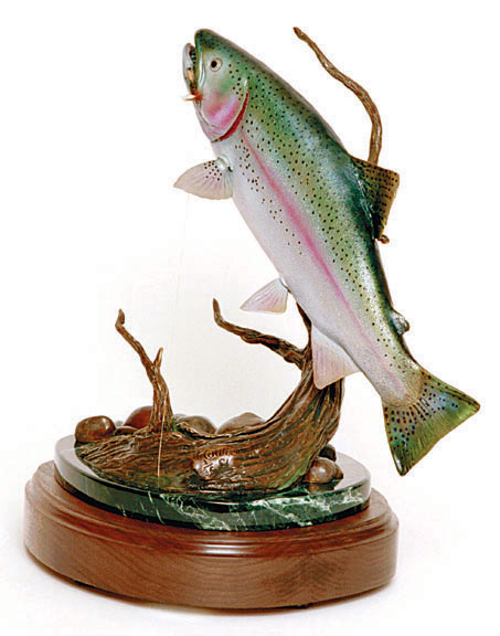 The bronze 'Morning Glory' depicts a rainbow trout.