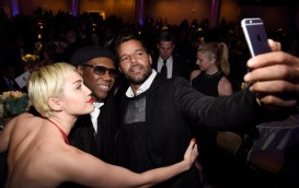 (From Right) Miley Cyrus, Nile Rodgers, and Ricky Martin