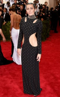 Miley Cyrus at the 2015 Met Gala on May 4, 2015 at the Costume Institute Benefit Gala at the Metropolitan Museum of Art in New York.