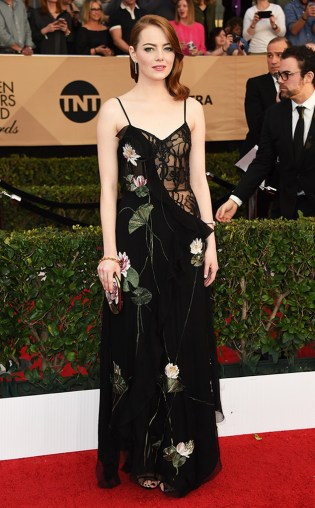 Emma Stone at the 2017 Screen Actors Guild Awards (SGA Awards) Red Carpet on Jan. 29, 2017.