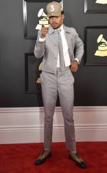 Chance The Rapper on the 59th annual Grammy Awards red carpet in Los Angeles on February 12, 2017.