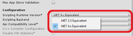 Unity3D - Scripting Runtime Version