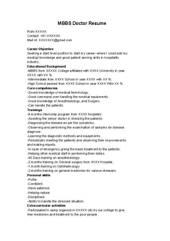 Mbbs Doctor Resume Template Pdfsimpli