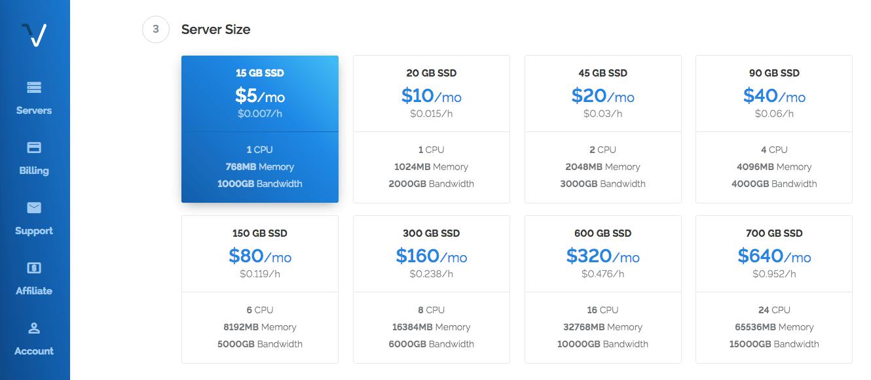 Select a Server Size