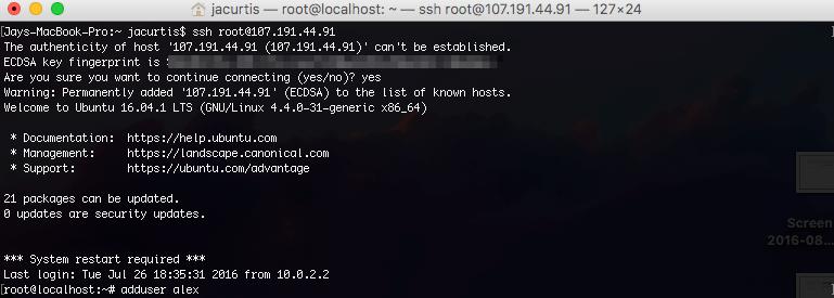 Welcome message from Ubuntu 16.04