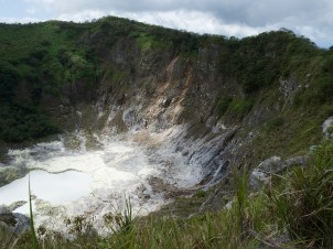 Blick View into the crater of volcano Mahawu (Minahasa Highland, North Sulawesi, Indonesia)