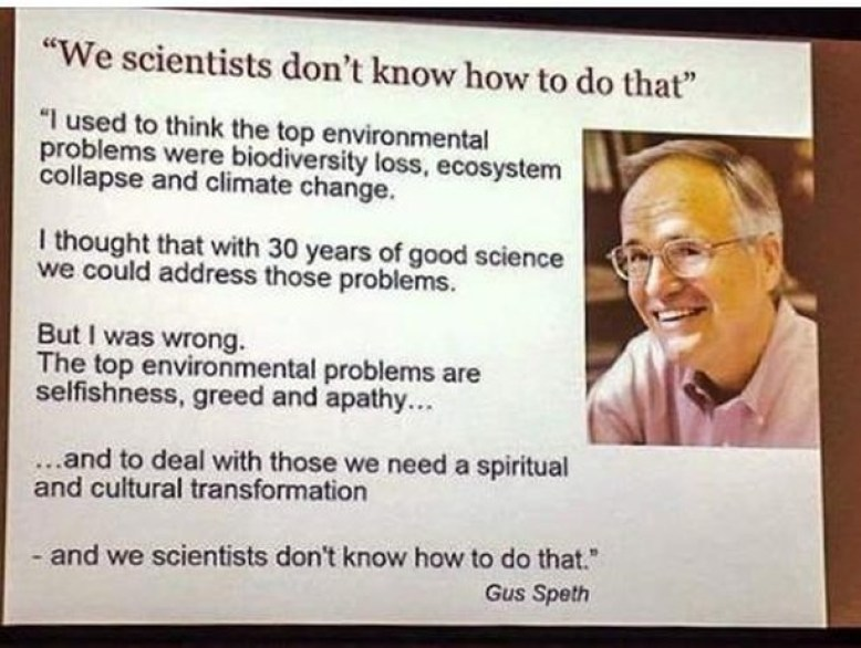 Photo of a powerpoint slide of Gus Speth: We scientist don't know how to do that ...