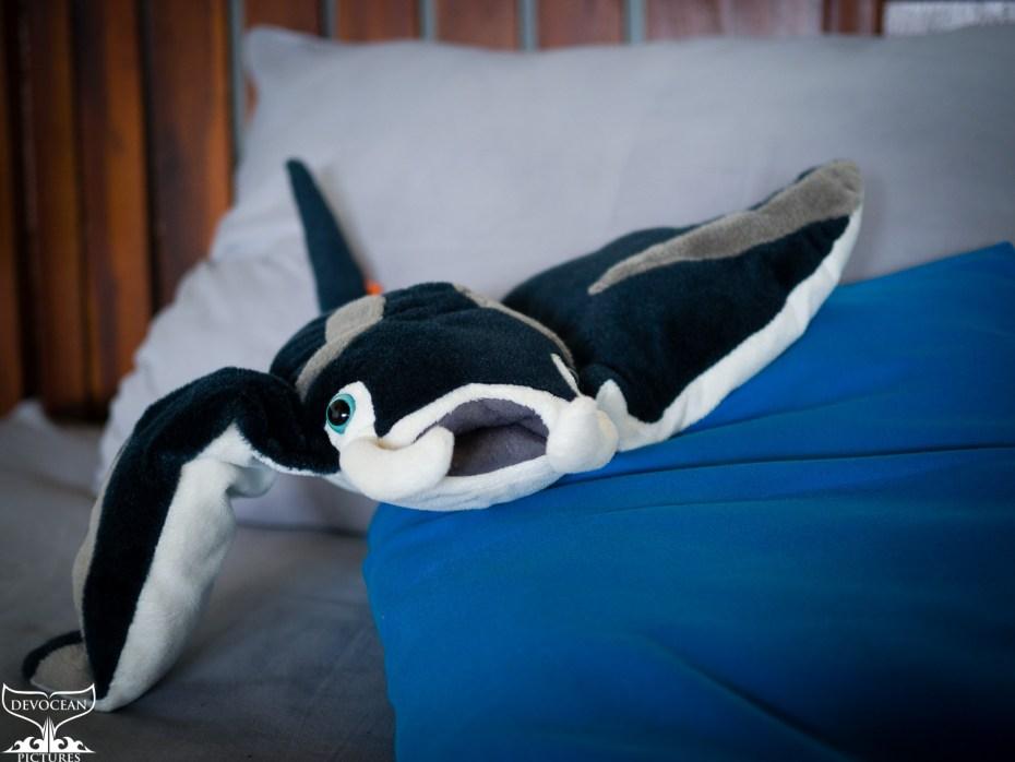 Foto von Manni Manta. Das Kuscheltier, der Marke Wild Republik, liegt auf dem Bett.