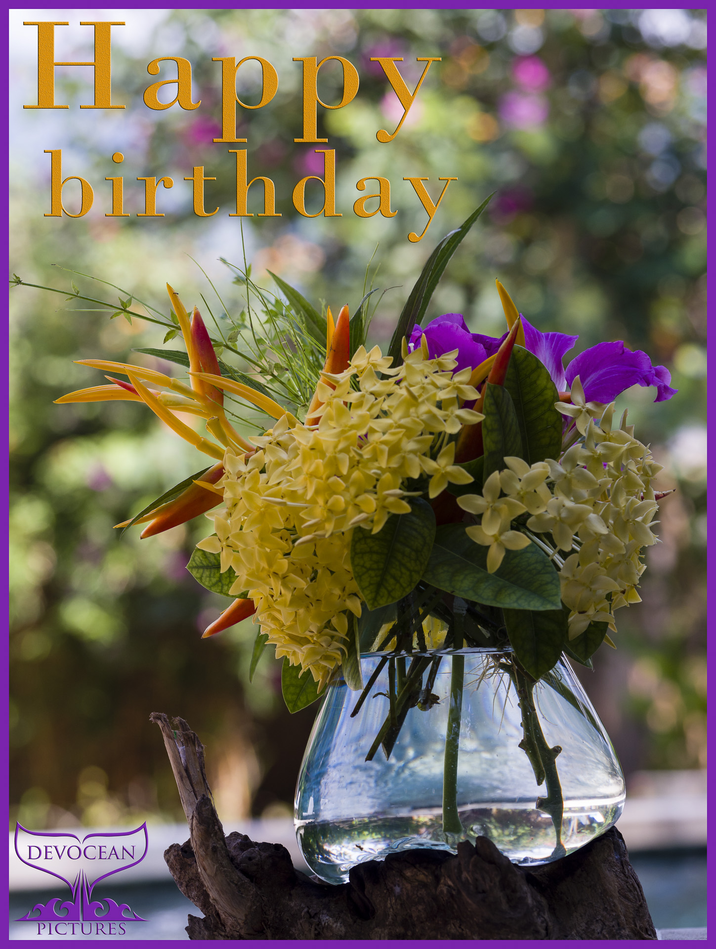 """Tropical flowers standing in a glass vase on a piece of wood: yellow, purple, orange, red and green for a blurry background of trees with flowers in pink, yellow andd orange. Prepared as postcard """"Happy birthday"""" and logo of Devocean Pictures"""
