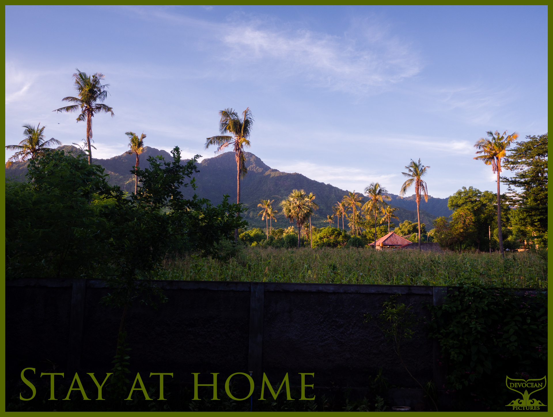 View over the garden wall in Pemuteran, Bali, towards fields, palm trees and the mountains under a blue morning sky. With warm regards: Stay at home.