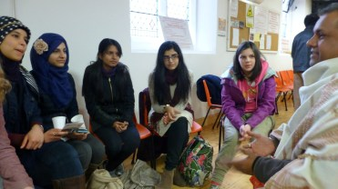 TIFFY members chat with the characterful Hindu leader
