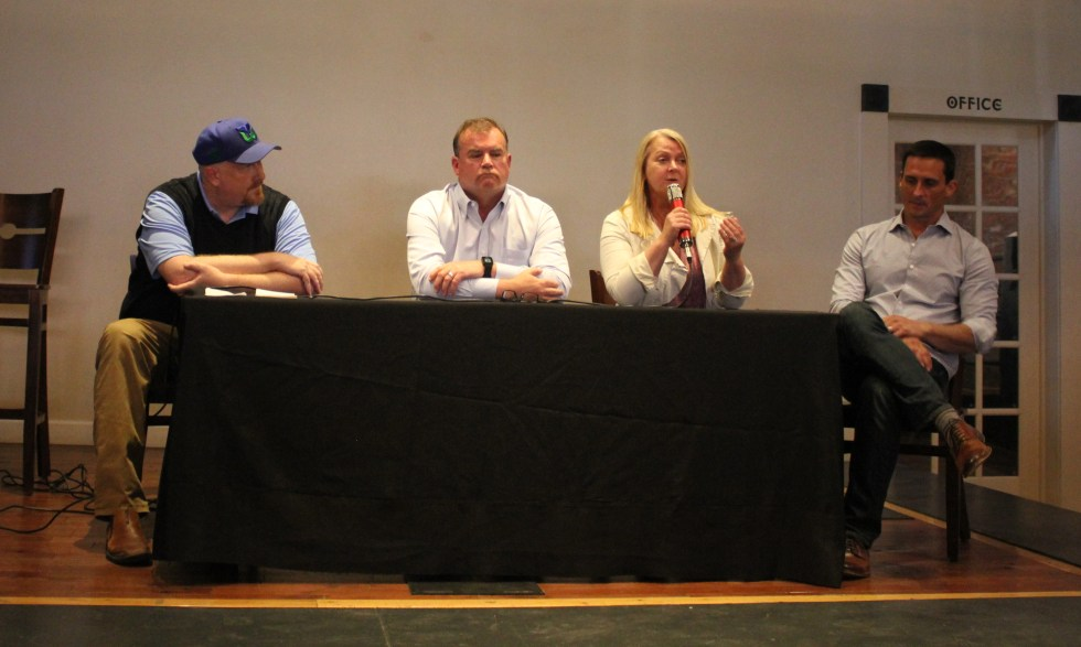 Jim Roberts, Kevin Carlson, Diane Durance, and Dominic Taverniti speak on a mentorship panel at Network for Entrepreneurs in Wilmington