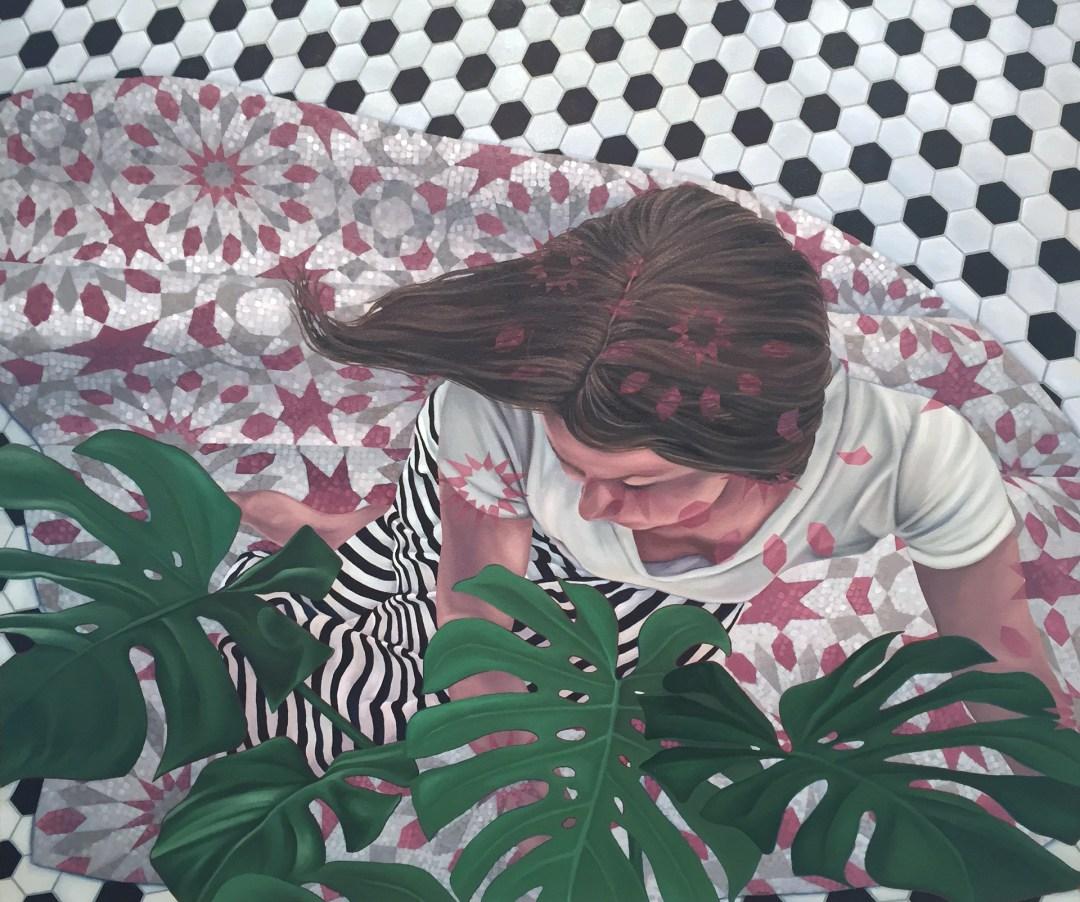 """Pink Stars Afar,"" 2016. Oil on canvas, 30 x 36"" - Devon Nowlin"