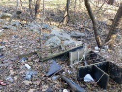 Illegal dumping along southeast side of Whitaker Ave Bridge