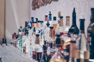 alcohol bottles at bar