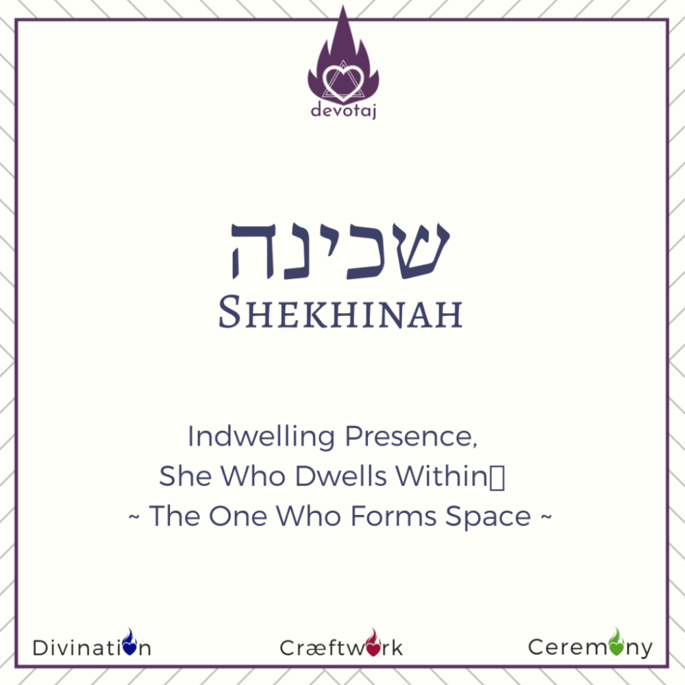 Shekhinah - Indwelling Presence, She Who Dwells within, The One Who Forms Space