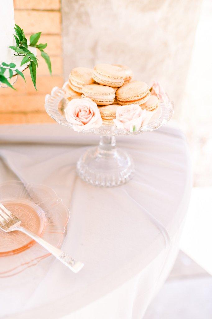 macarons on a glass cake stand