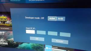Fenêtre d'activation du mode développeur sur Smart TV Samsung