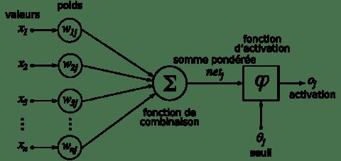 Structure d'un neurone artificiel. Le neurone calcule la somme de ses entrées puis cette valeur passe à travers la fonction d'activation pour produire sa sortie. Source : Wikipedia