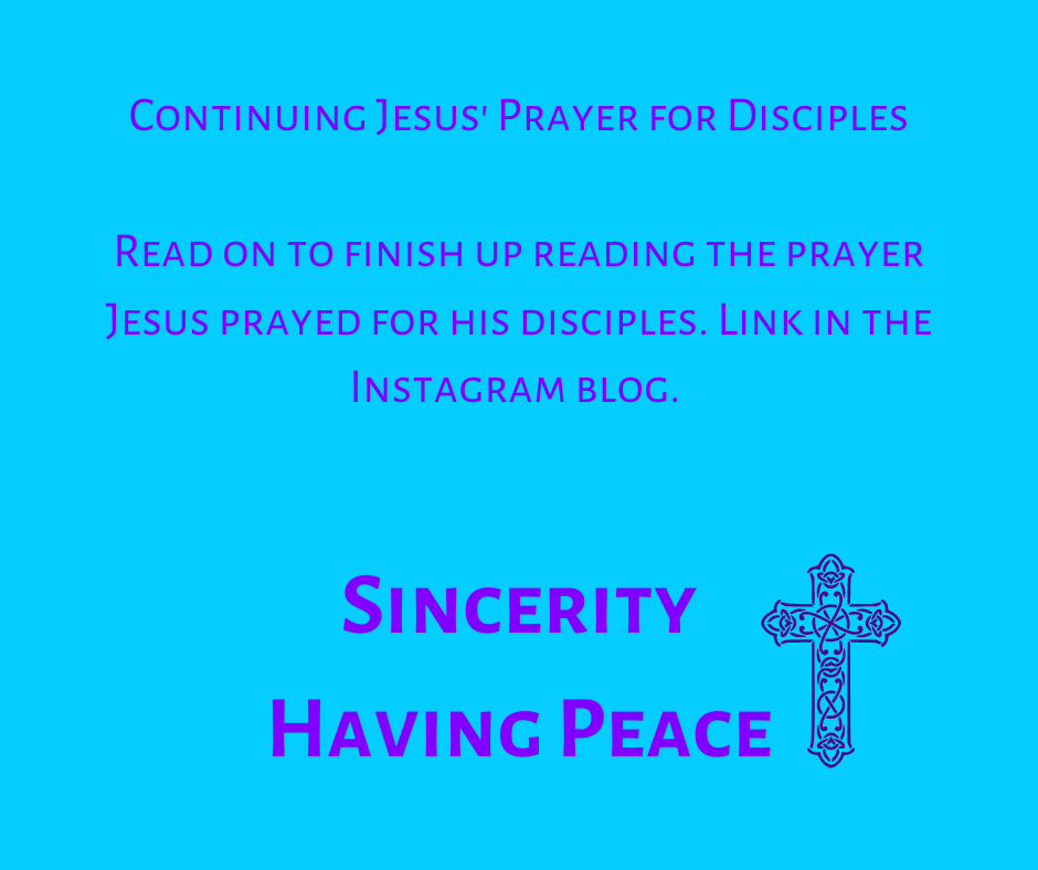 Jesus Prayer for his Disciples Continued