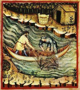535px-36-pesca,Taccuino_Sanitatis,_Casanatense_4182_ fish net wikipedia public domain
