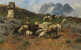 http://commons.wikimedia.org/wiki/File:Christian_Friedrich_Mali_-_Hirtenjunge_mit_Schafen_im_Gebirge_(1904).jpg