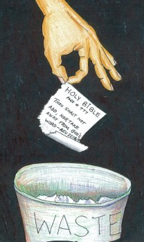 Bible page in waste