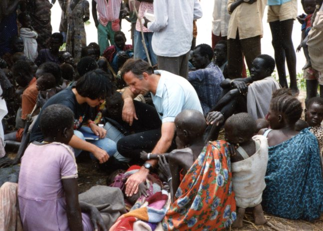 Phillip with refugees in South Sudan.