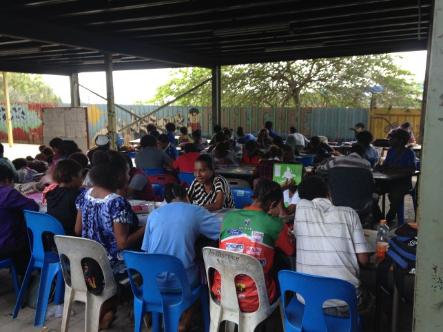 Learners in an adult literacy class, Port Moresby