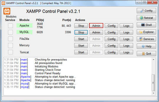Using XAMPP Control Panel